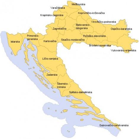 Mapa chorvatských žup